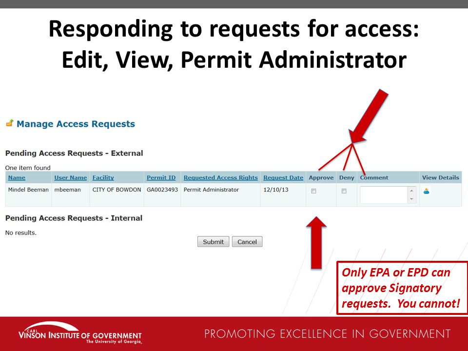 Responding to requests for access: Edit, View, Permit Administrator