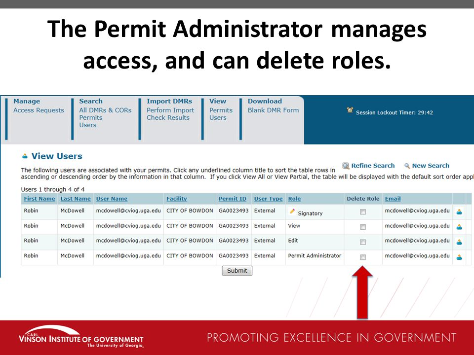 The Permit Administrator manages access, and can delete roles.