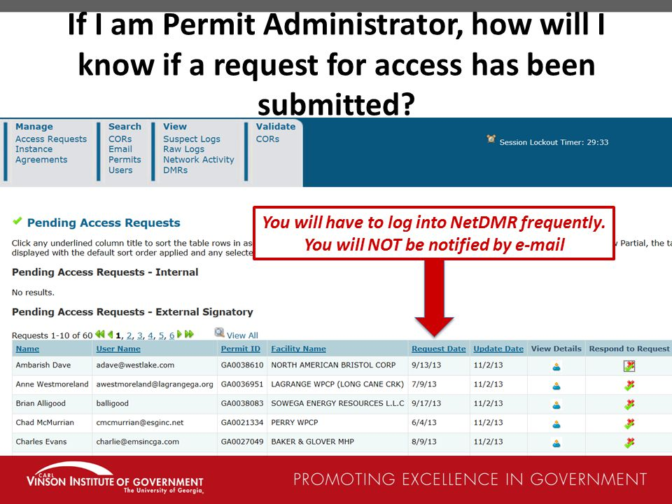 If I am Permit Administrator, how will I know if a request for access has been submitted
