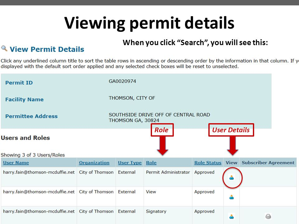 Viewing permit details