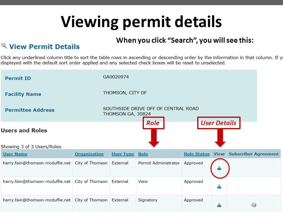 Viewing permit details
