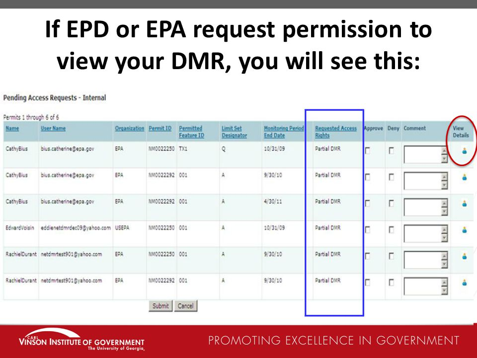 If EPD or EPA request permission to view your DMR, you will see this:
