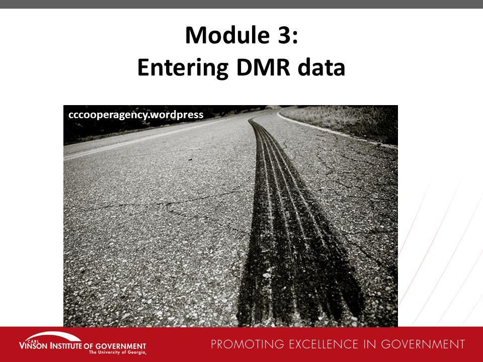 Module 3: Entering DMR data