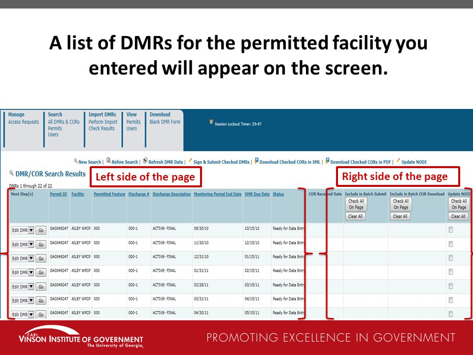 A list of DMRs for the permitted facility you entered will appear on the screen.