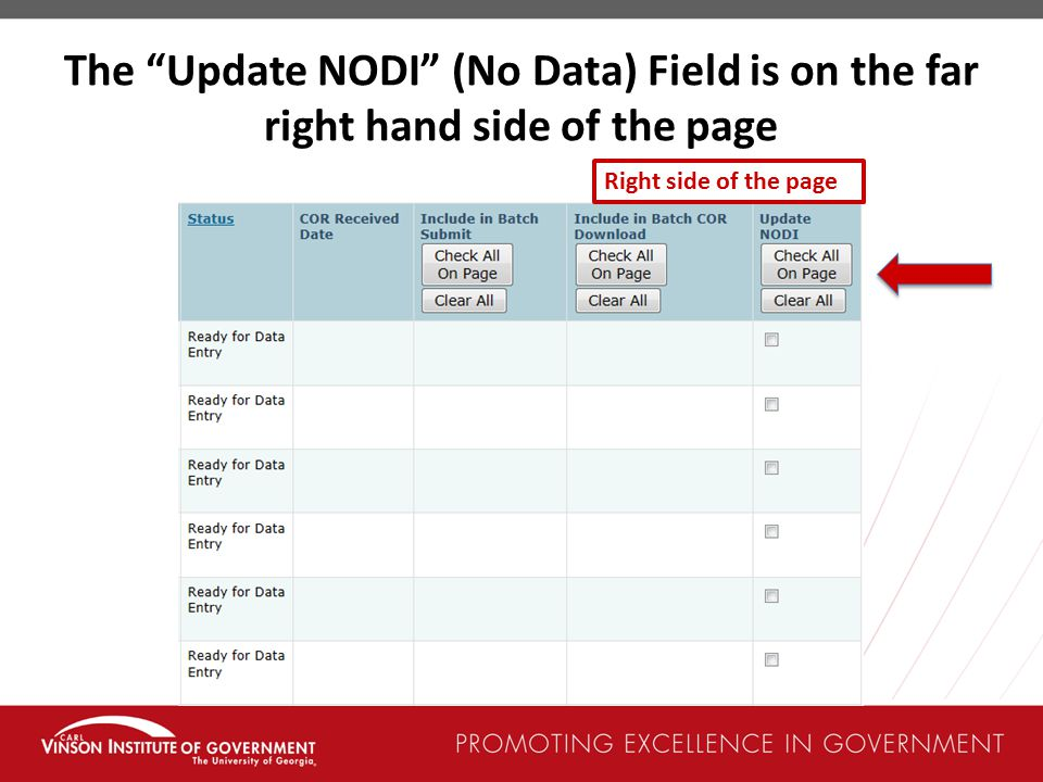 The Update NODI (No Data) Field is on the far right hand side of the page