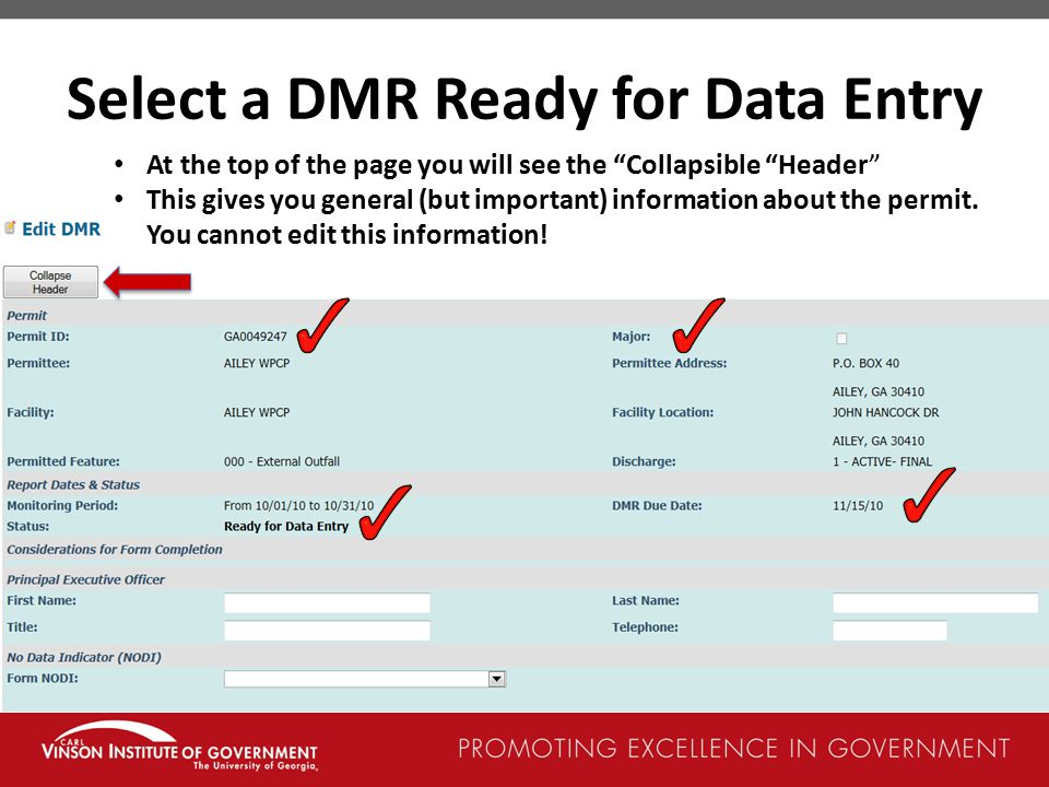 Select a DMR Ready for Data Entry
