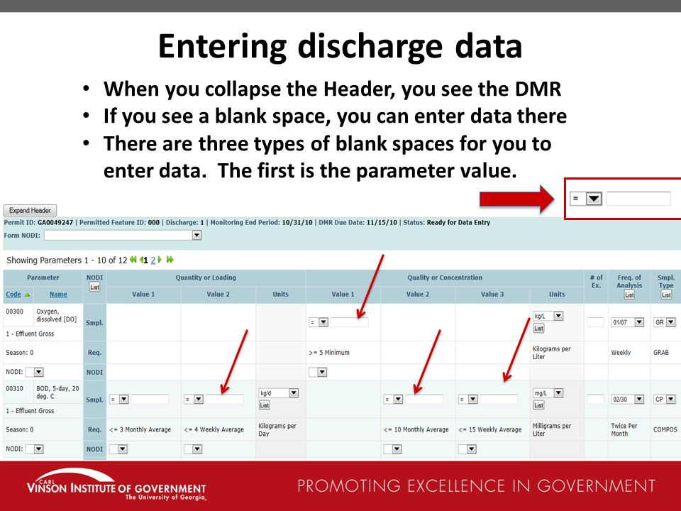 Entering discharge data