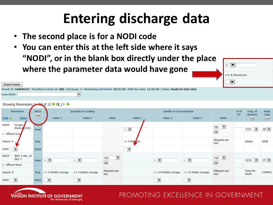 Entering discharge data