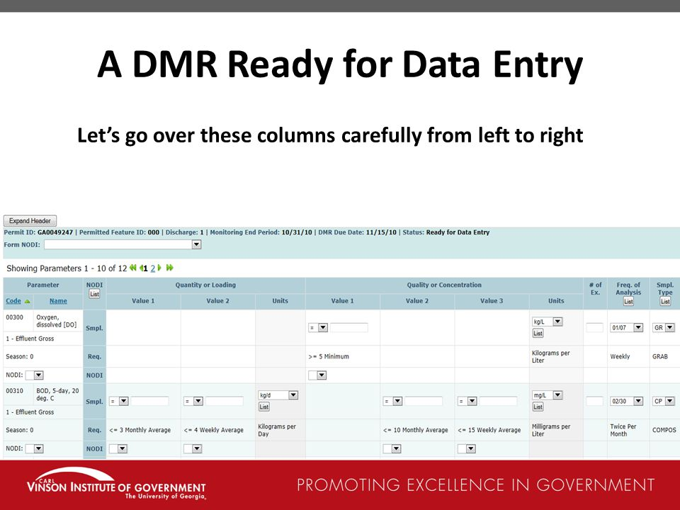 A DMR Ready for Data Entry