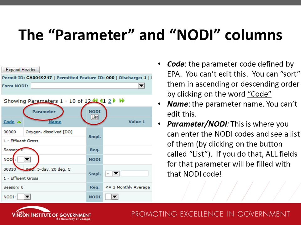 The Parameter and NODI columns