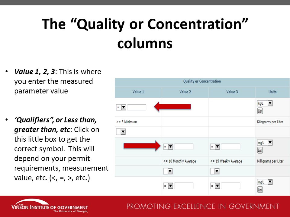 The Quality or Concentration columns