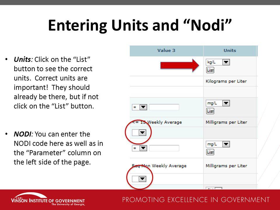 Entering Units and Nodi
