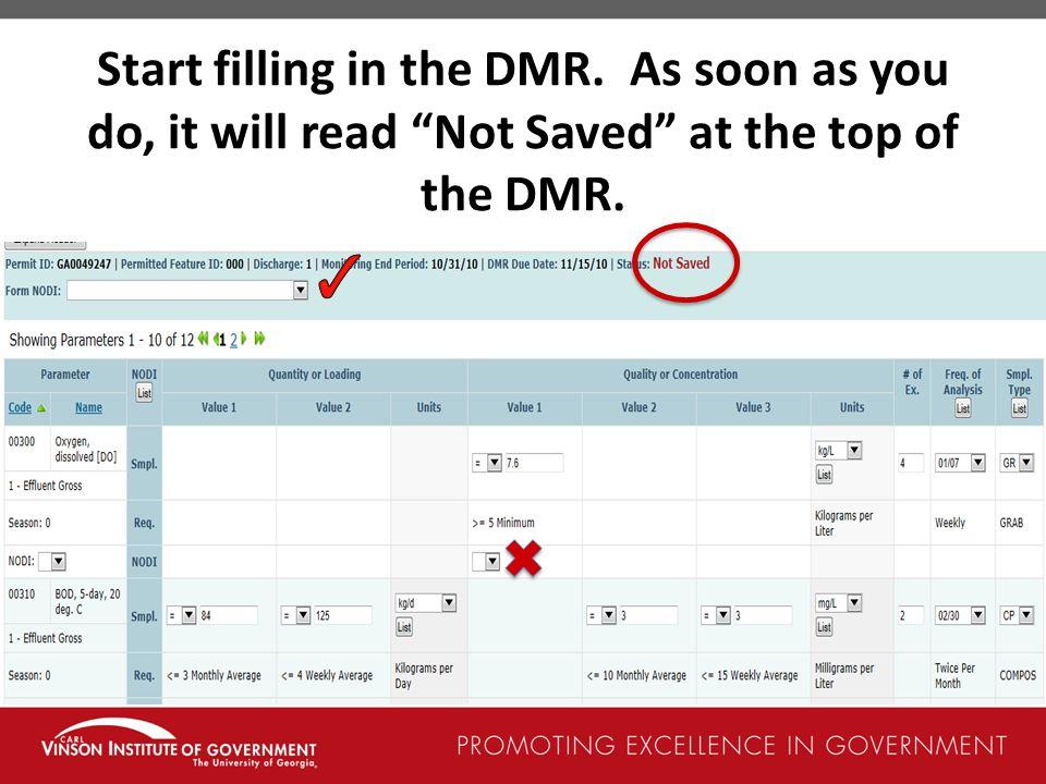 Start filling in the DMR
