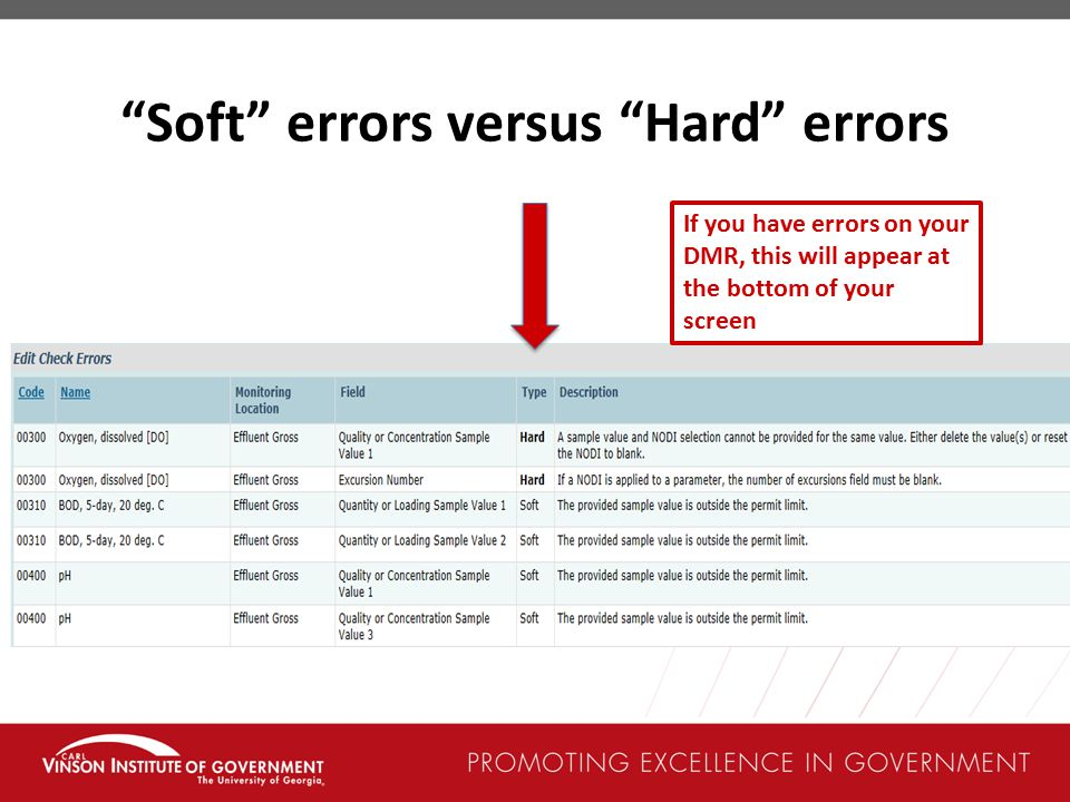 Soft errors versus Hard errors