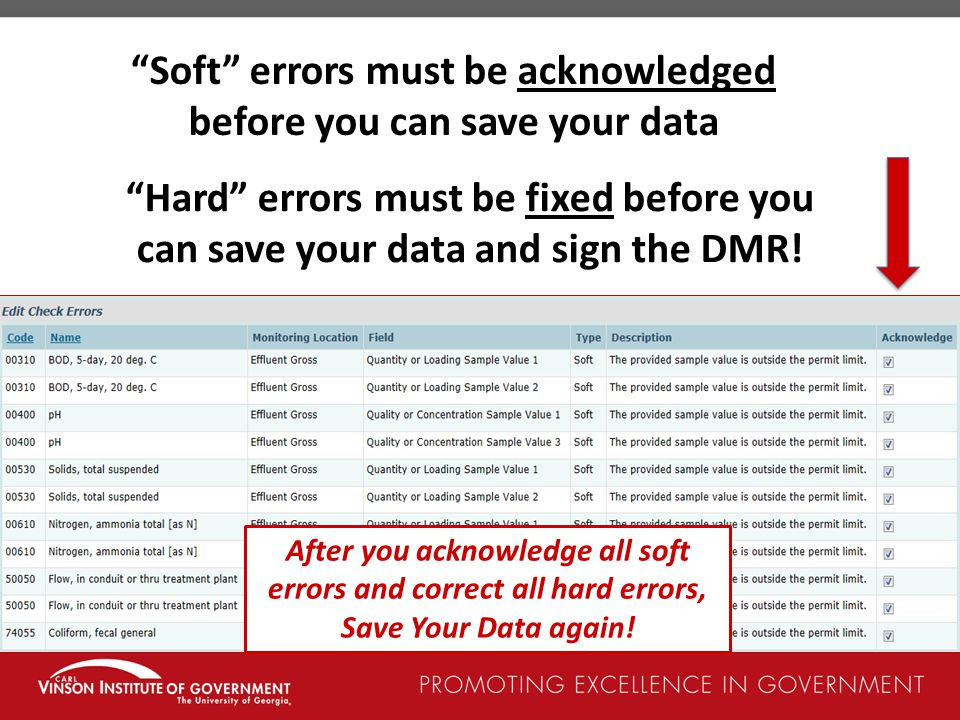 Soft errors must be acknowledged before you can save your data