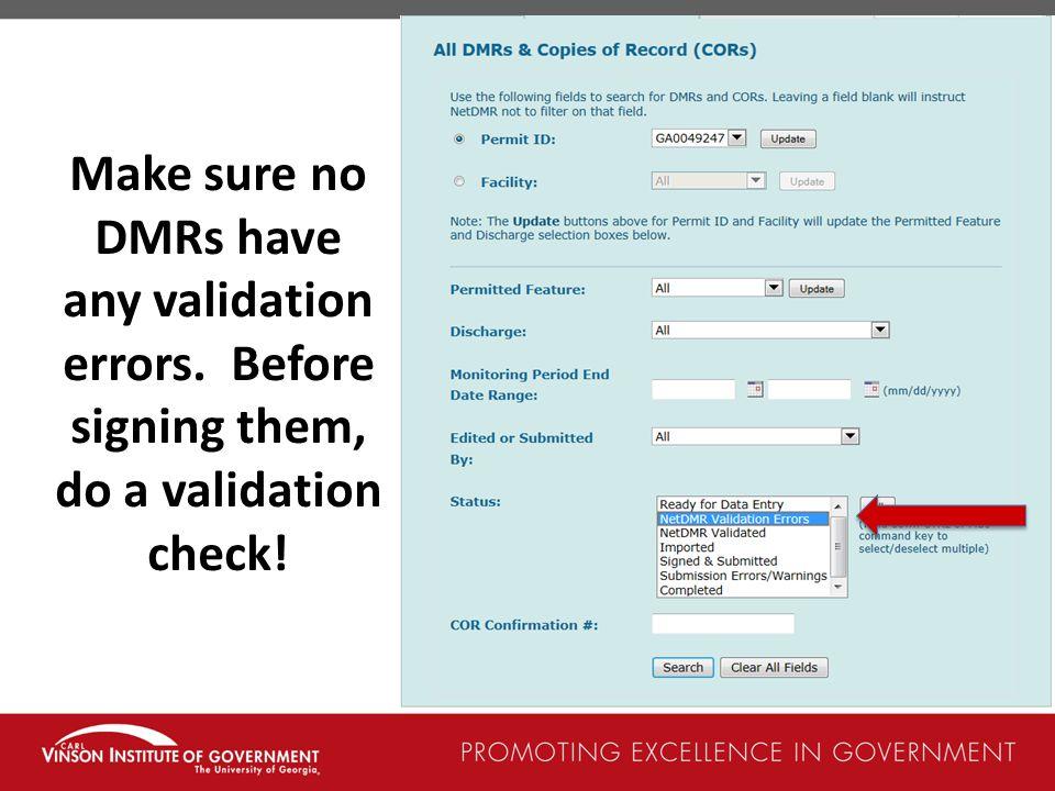 Make sure no DMRs have any validation errors