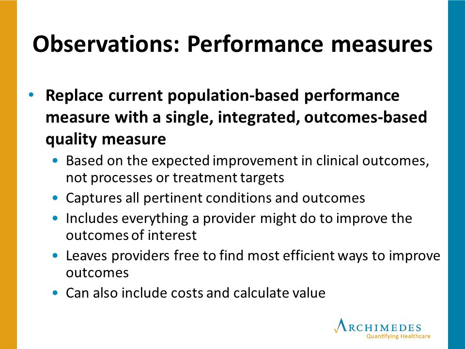 Observations: Performance measures