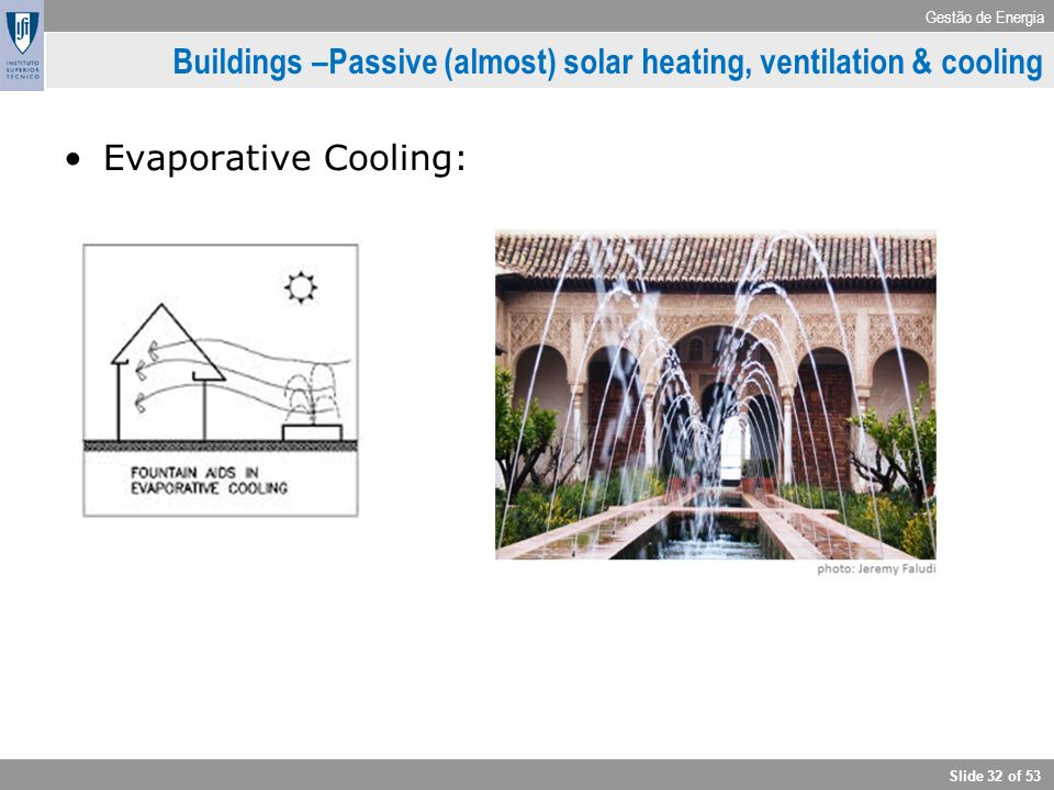 Buildings –Passive (almost) solar heating, ventilation & cooling