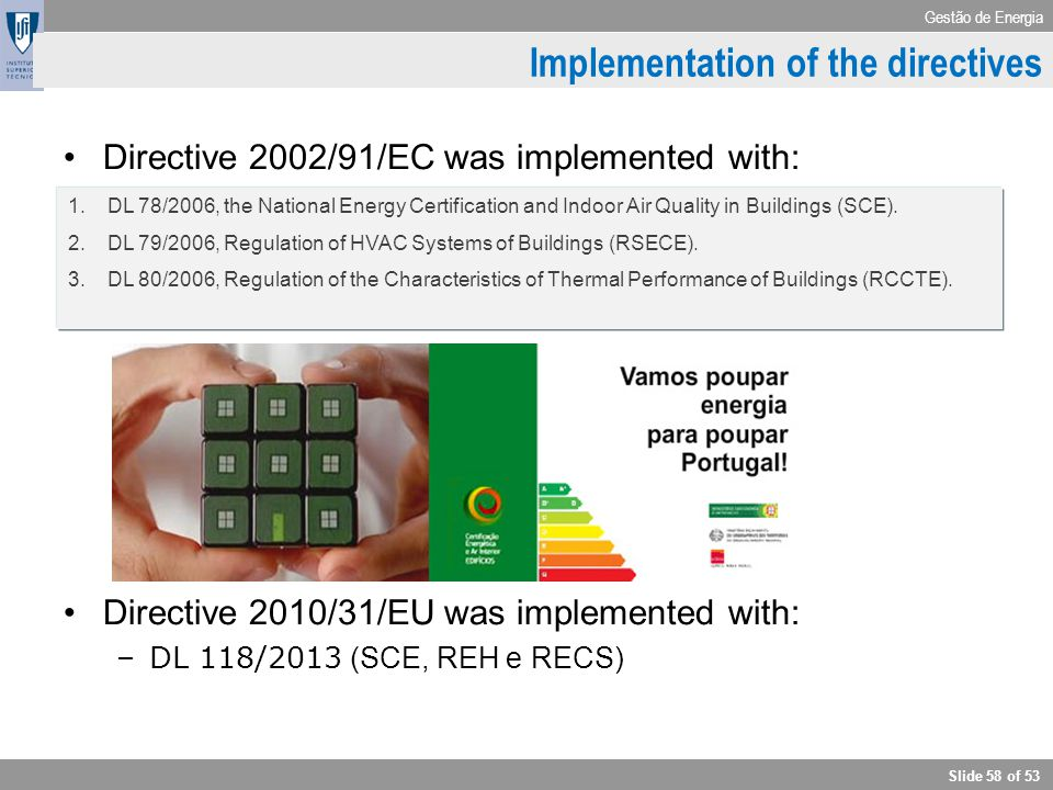Implementation of the directives