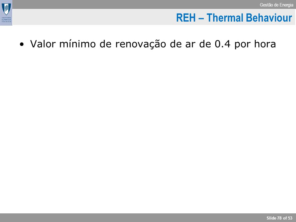 REH – Thermal Behaviour