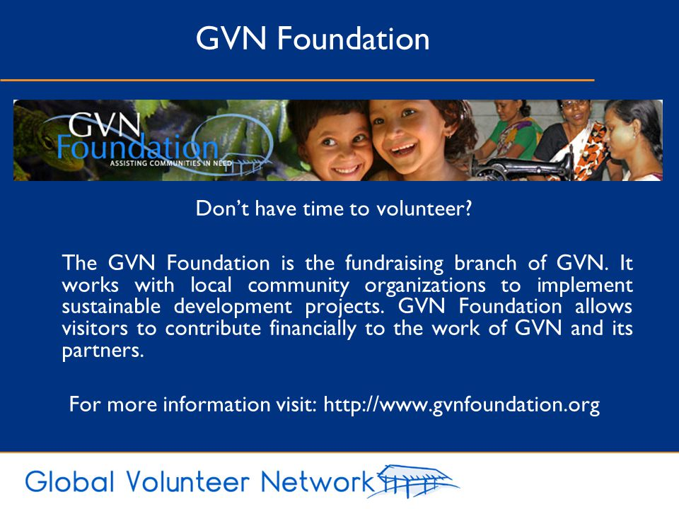 GVN Foundation Don't have time to volunteer