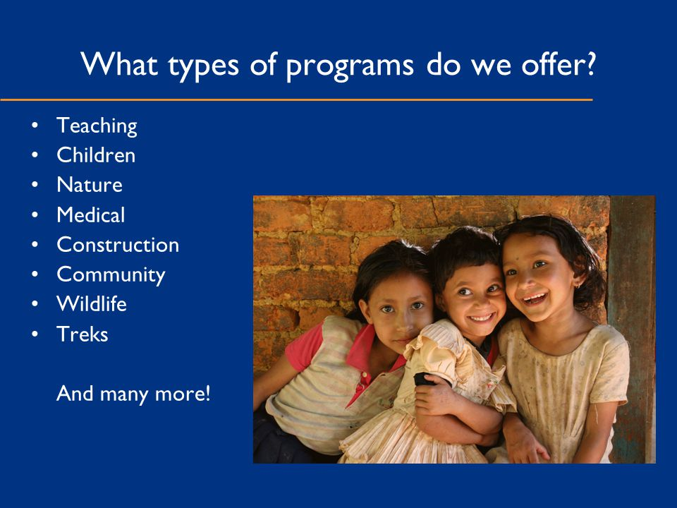 What types of programs do we offer