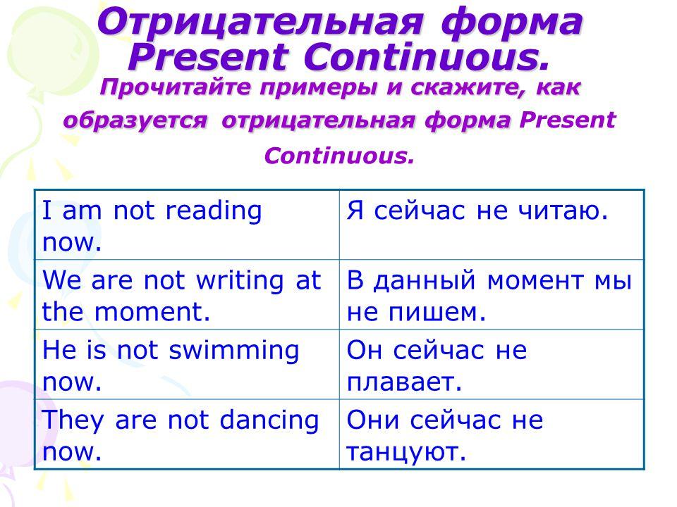 Отрицательная форма Present Continuous