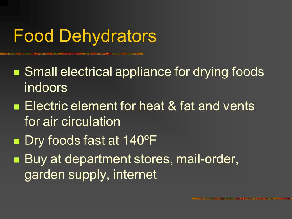 Food Dehydrators Small electrical appliance for drying foods indoors