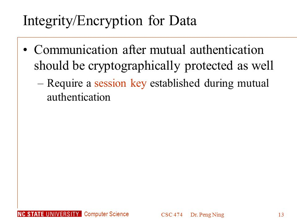 Integrity/Encryption for Data