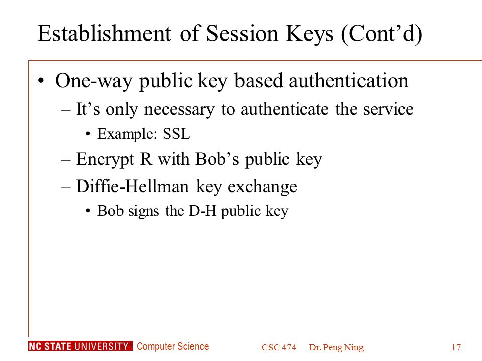 Establishment of Session Keys (Cont'd)