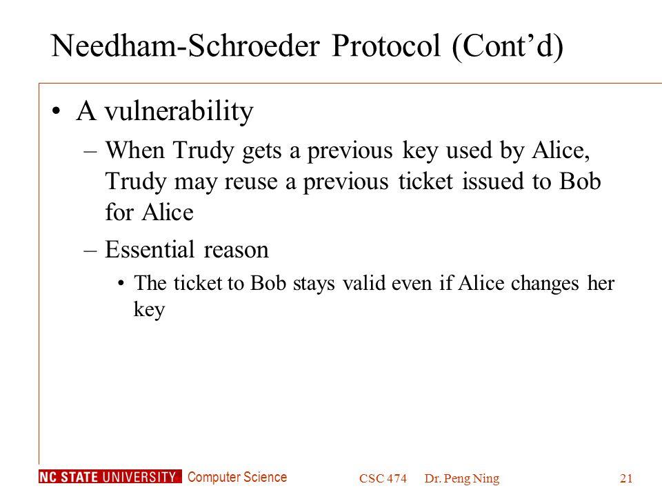 Needham-Schroeder Protocol (Cont'd)