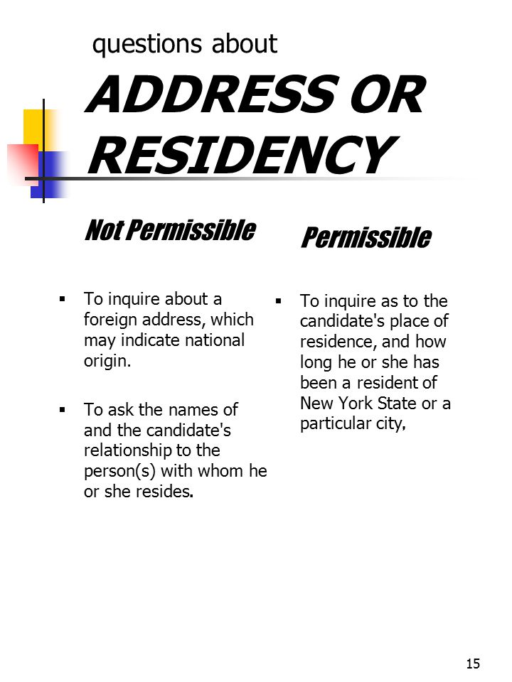 questions about ADDRESS OR RESIDENCY