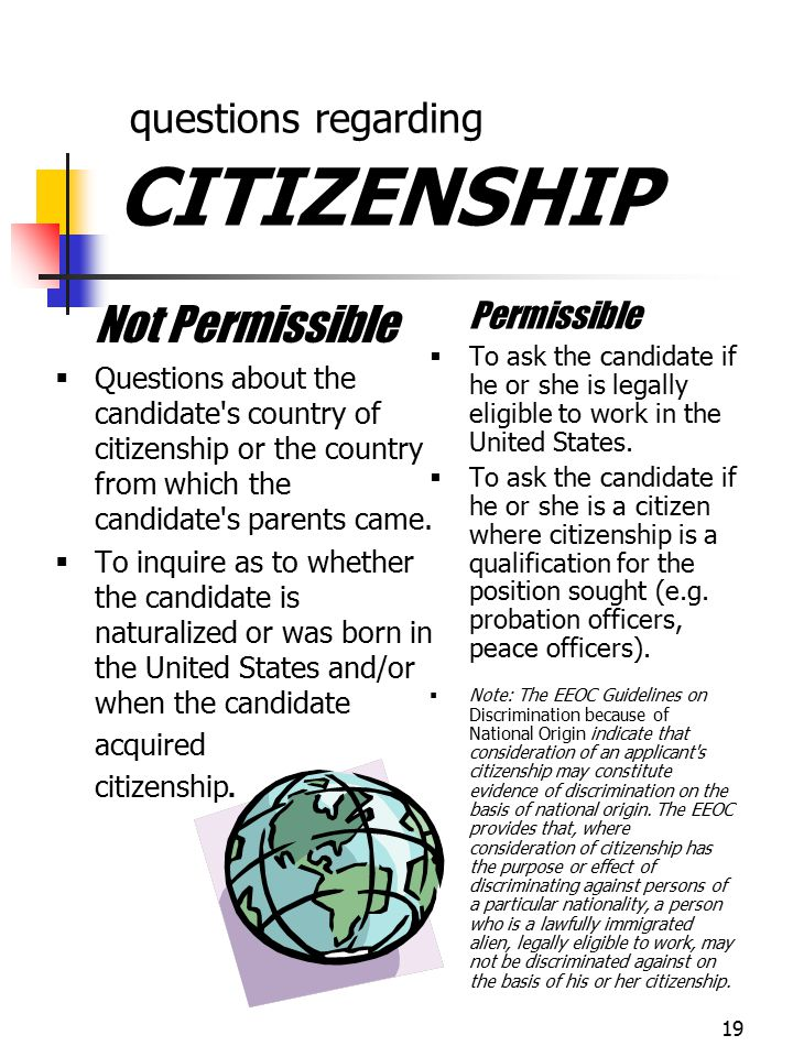 questions regarding CITIZENSHIP