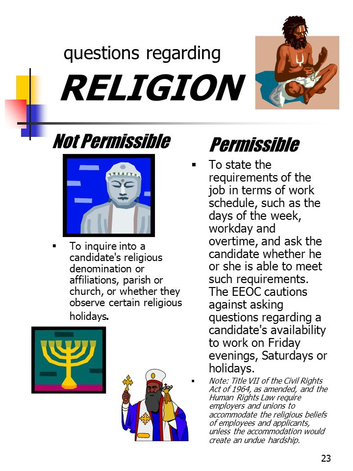 questions regarding RELIGION