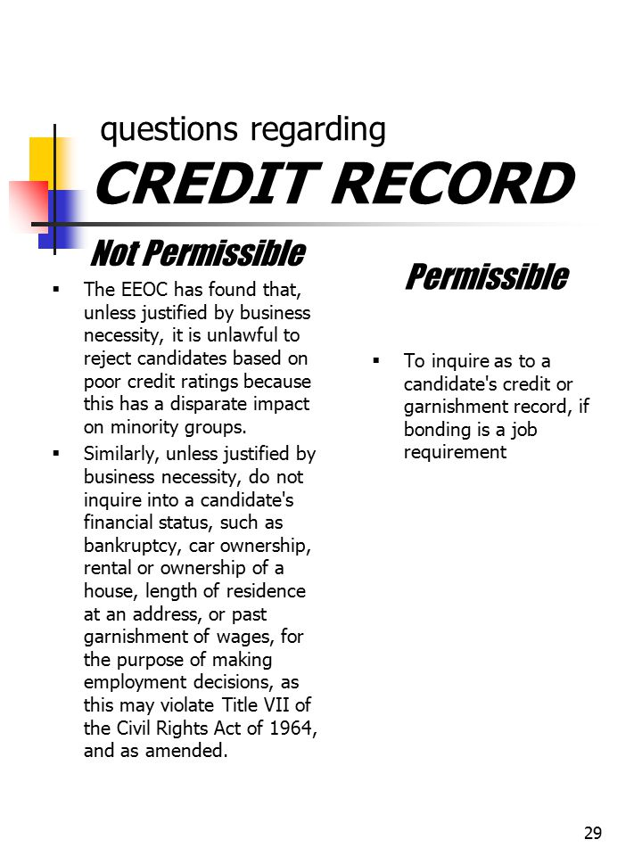 questions regarding CREDIT RECORD