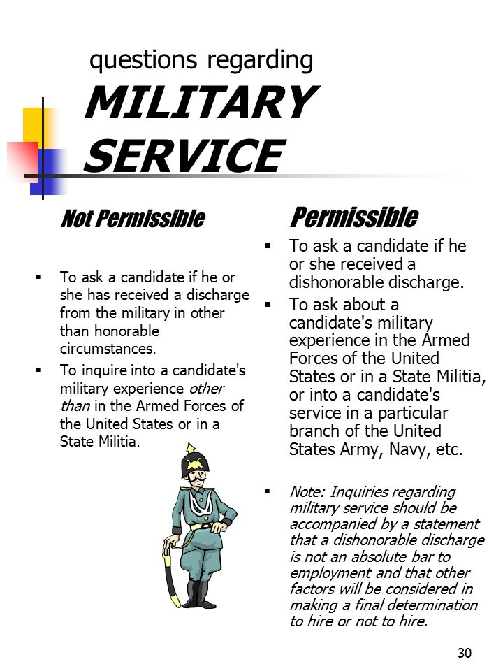 questions regarding MILITARY SERVICE