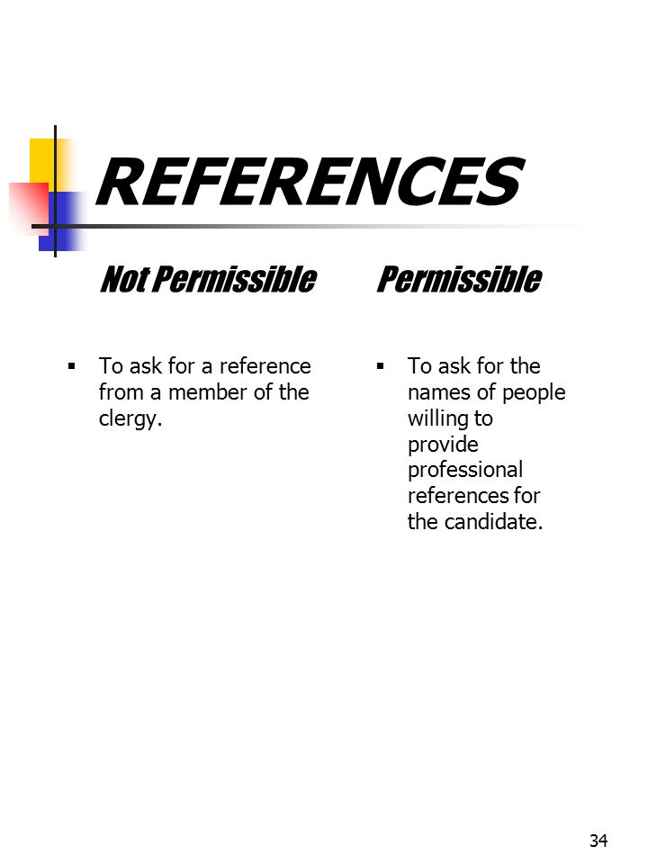 REFERENCES Not Permissible Permissible