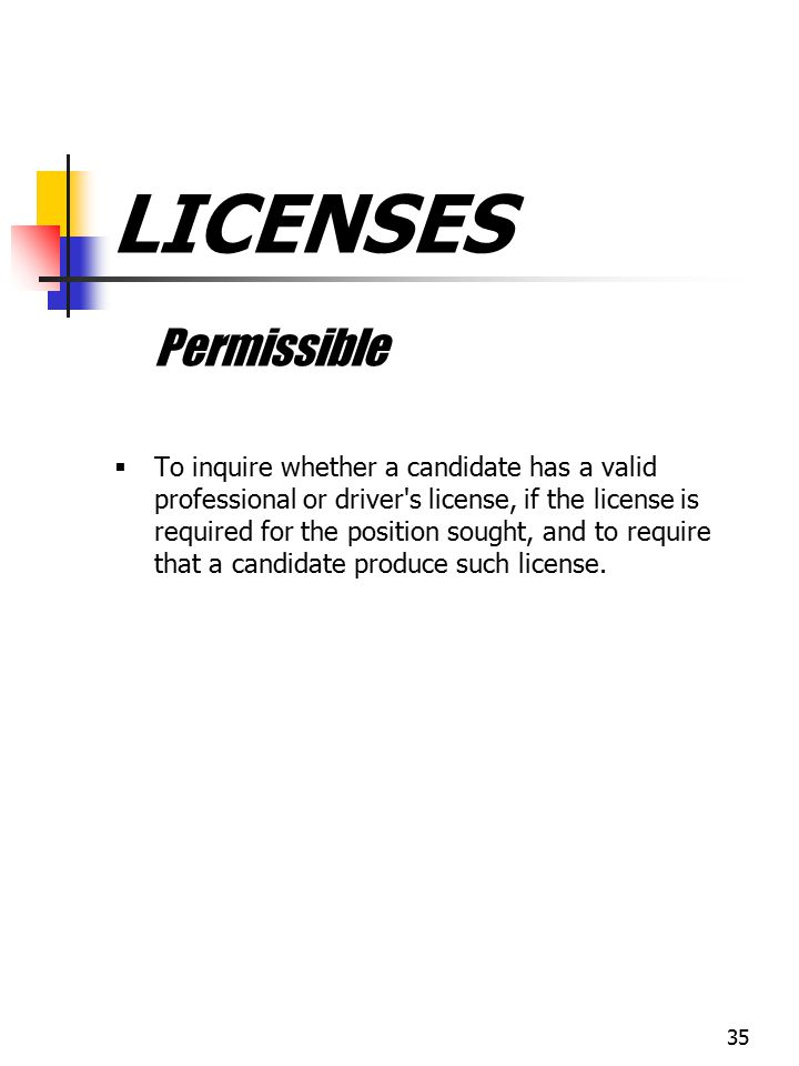 LICENSES Permissible.