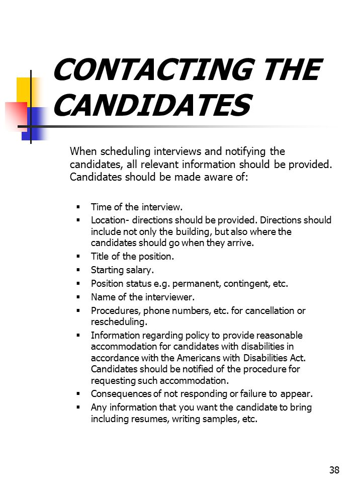 CONTACTING THE CANDIDATES