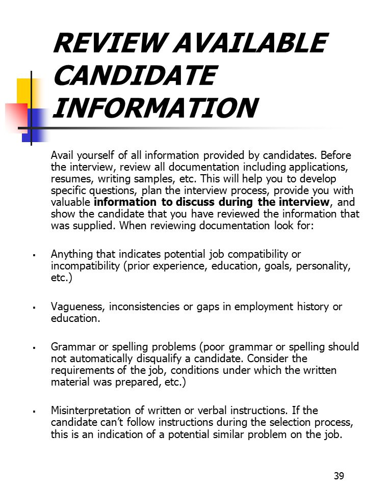REVIEW AVAILABLE CANDIDATE INFORMATION