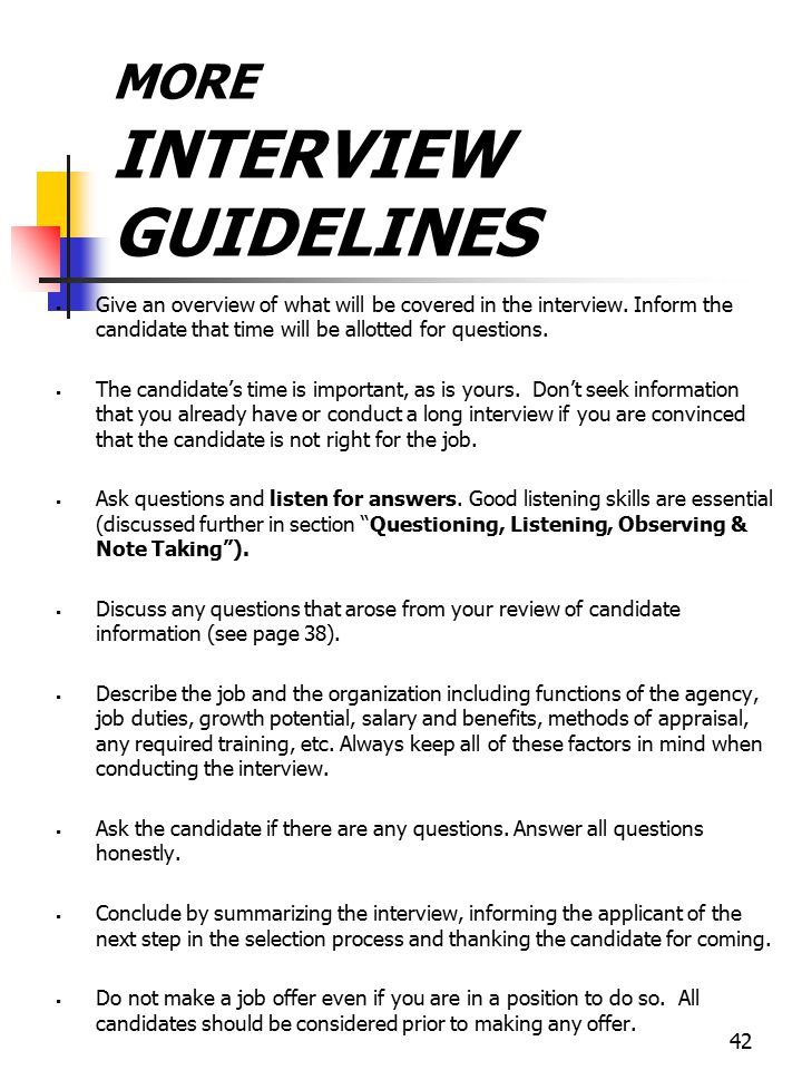 MORE INTERVIEW GUIDELINES