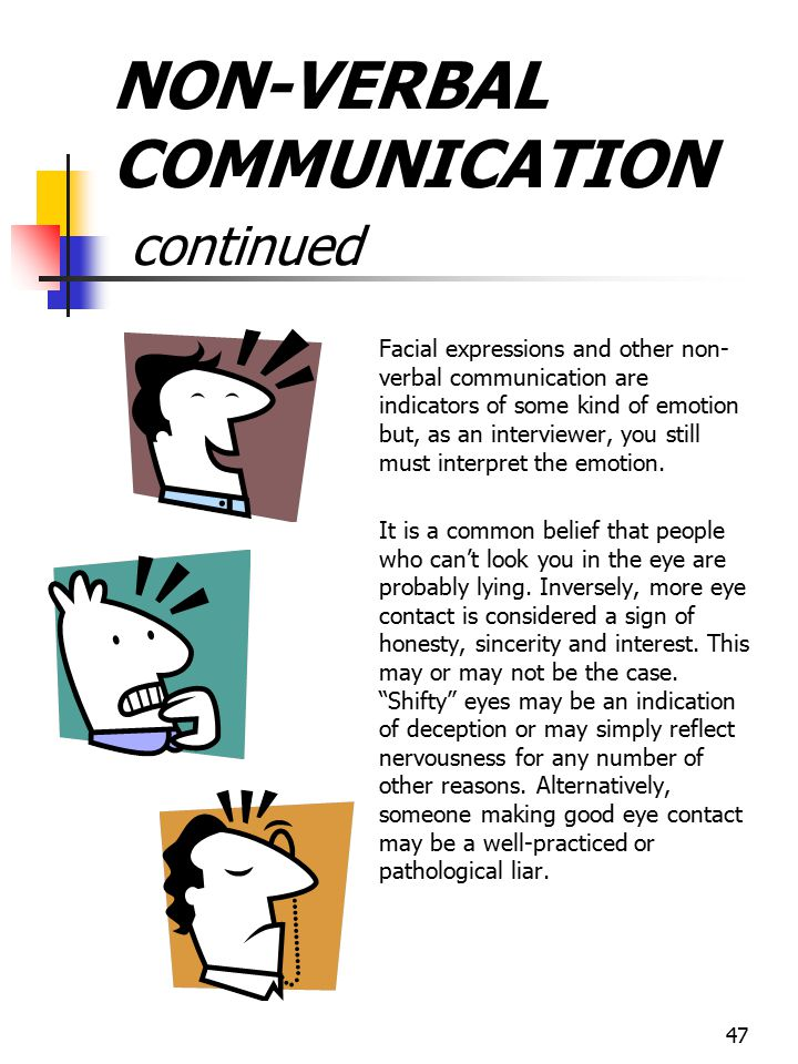 NON-VERBAL COMMUNICATION continued