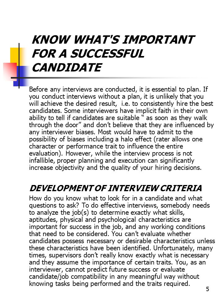 KNOW WHAT S IMPORTANT FOR A SUCCESSFUL CANDIDATE