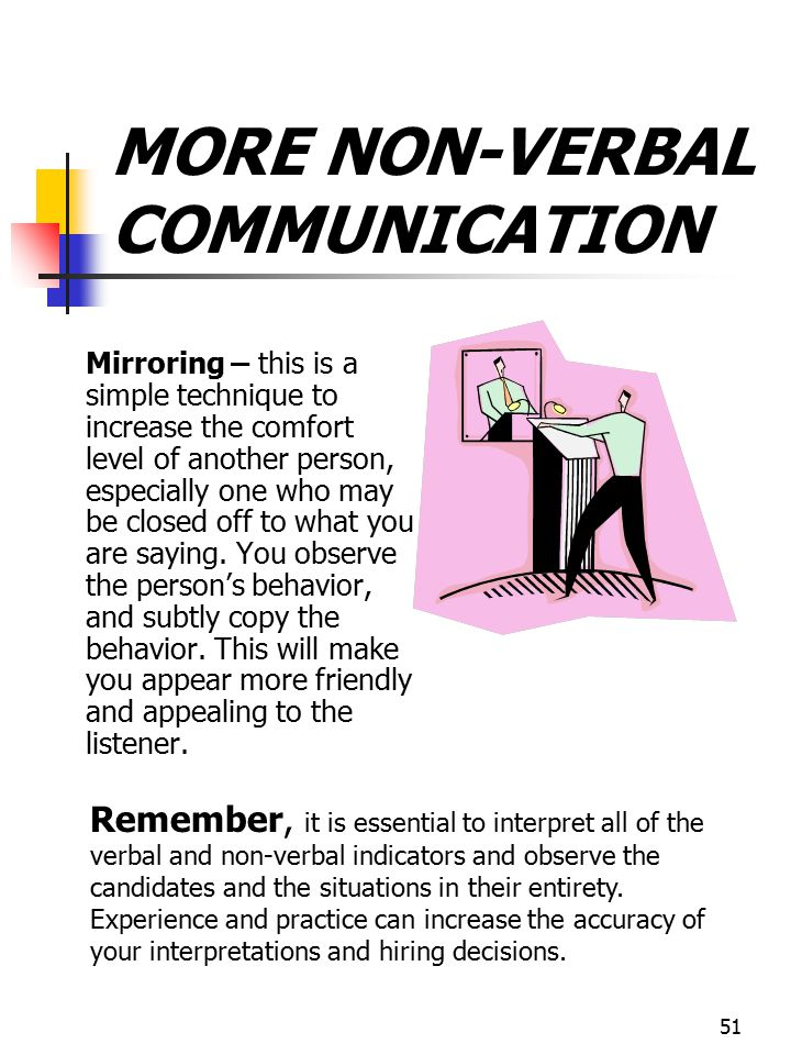 MORE NON-VERBAL COMMUNICATION
