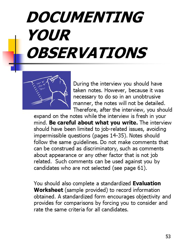 DOCUMENTING YOUR OBSERVATIONS