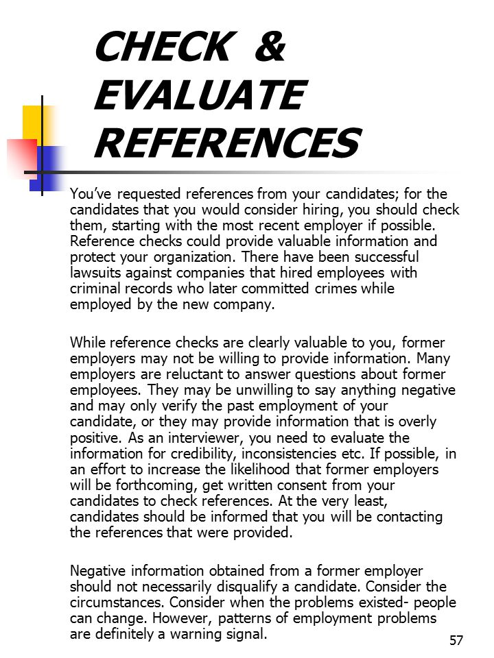 CHECK & EVALUATE REFERENCES