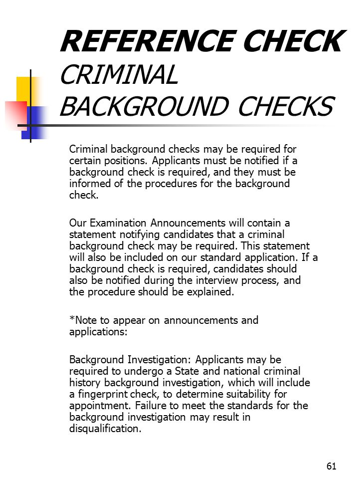 REFERENCE CHECK CRIMINAL BACKGROUND CHECKS