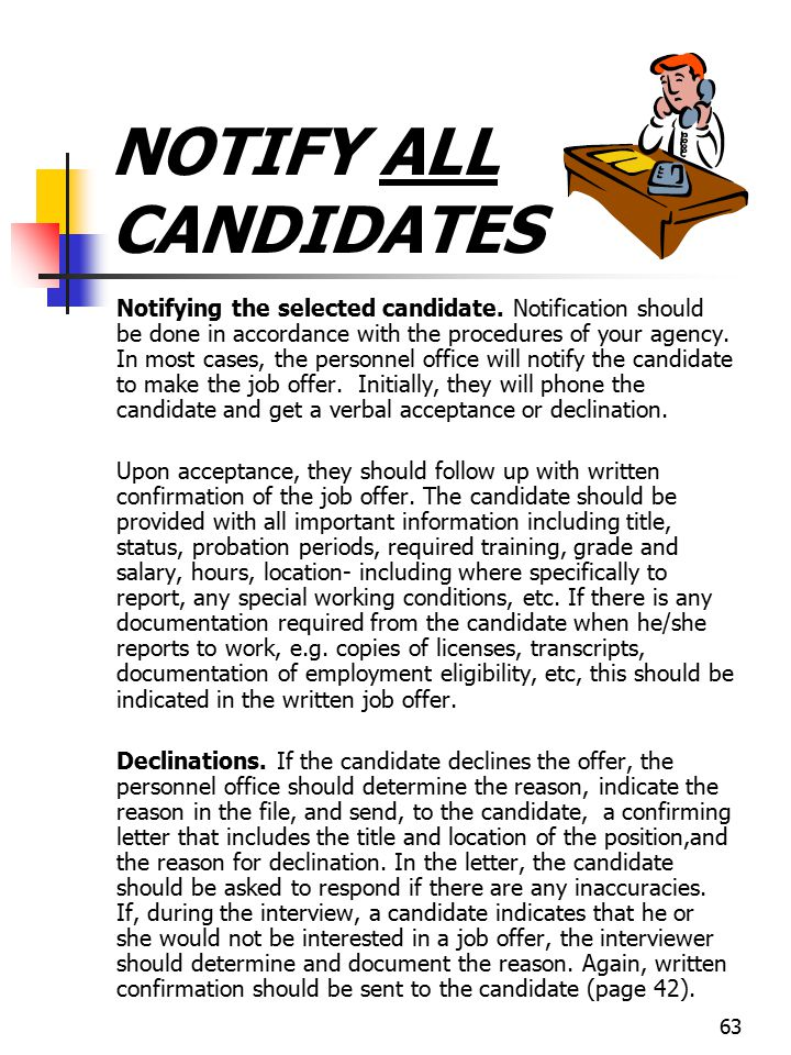 NOTIFY ALL CANDIDATES