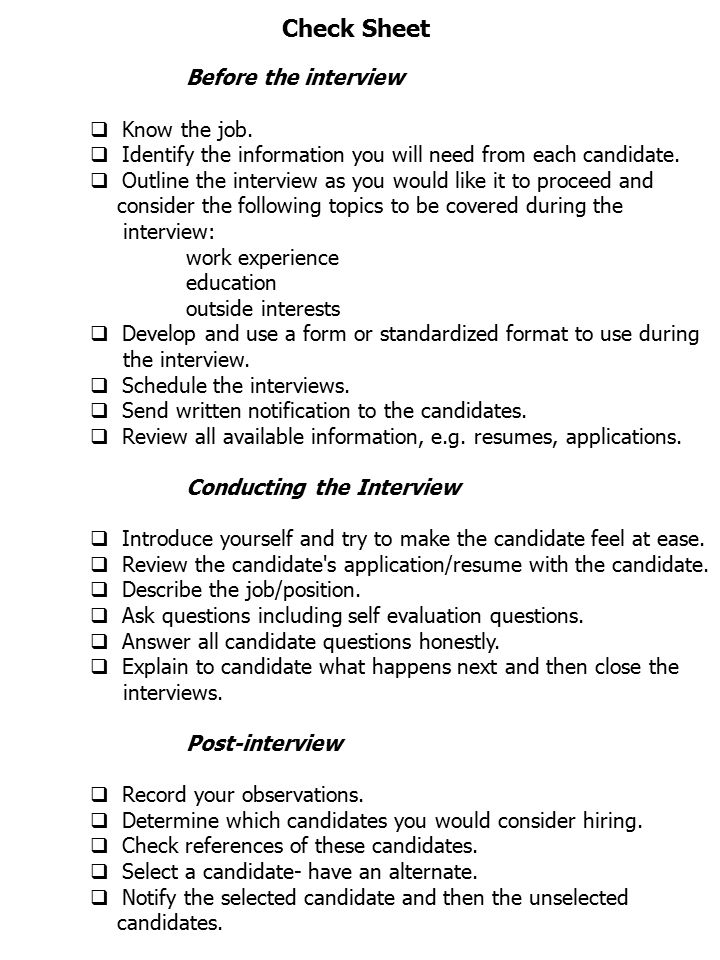 Check Sheet Before the interview Know the job.