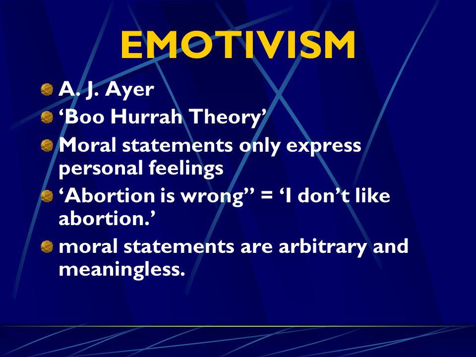 EMOTIVISM A. J. Ayer 'Boo Hurrah Theory'
